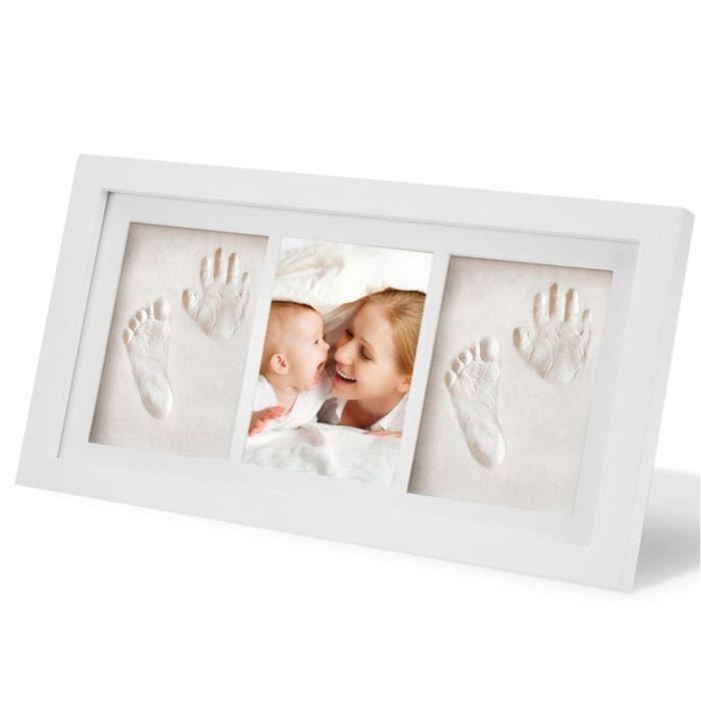 Growth Record Nontoxic Clay Wooden Photo Frame Handprint Gift Home Decor Memory Baby Footprint Kit