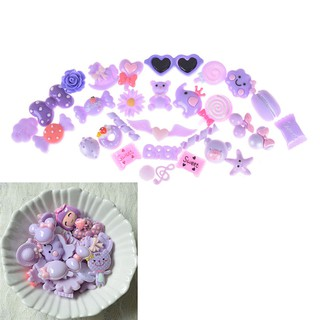 10Pcs Purple Blessing Bag Mixed Lot Cute Resin Food Candy DIY Craft Collection