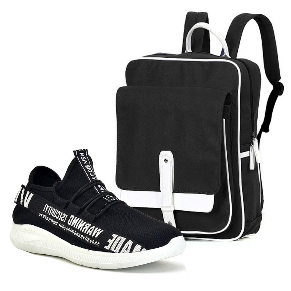 Combo Giày Sneaker Nam - G011 & Balo Hàn Quốc - BL021(Đen)