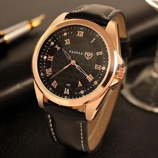 Đồng hồ nam YAZOLE 342 dây da chính hãng cao cấp Fullbox chống nước tốt AH479 thumbnail