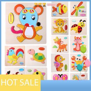 [lillian1] Baby Kid Cartoon Animals Puzzles Toy Intelligence Kids Educational Brain Teaser Baby Jig