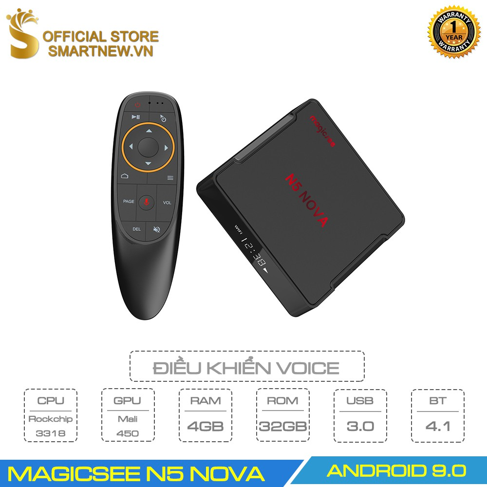 Android Tivi Box Magicsee N5 Nova - Ram 4GB. Rom 32GB, Android 9.0 - Điều khiển Voice search