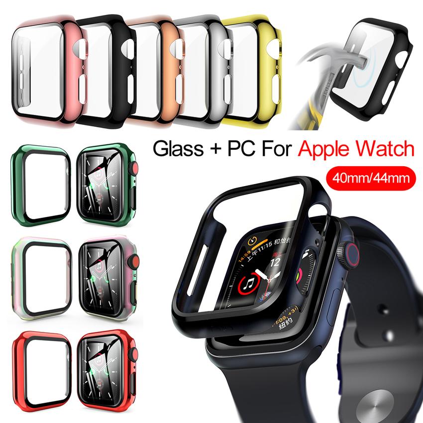 Ốp bảo vệ mặt đồng hồ thông minh kèm kính cường lực 360 độ cho Apple Watch Se 6 5 4 3 2 1 Iwatch 38mm 40mm 42mm 44mm