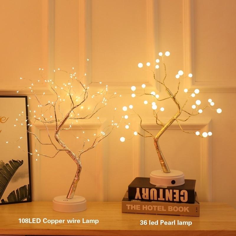 Đèn LED để bàn hình cây hạt ngọc trai sáng tạo
