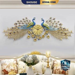 Đồng Hồ Treo Tường con chim công khổng tước trang trí Shouse A999 decor đẹp cho phòng khách kim trôi cao cấp nghệ thuật
