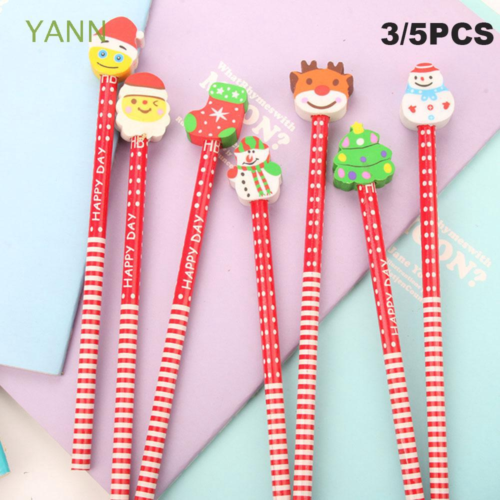 3/5PCS Color Random Gifts Stationery Writing Instruments Penguin Snowman Christmas Pencil