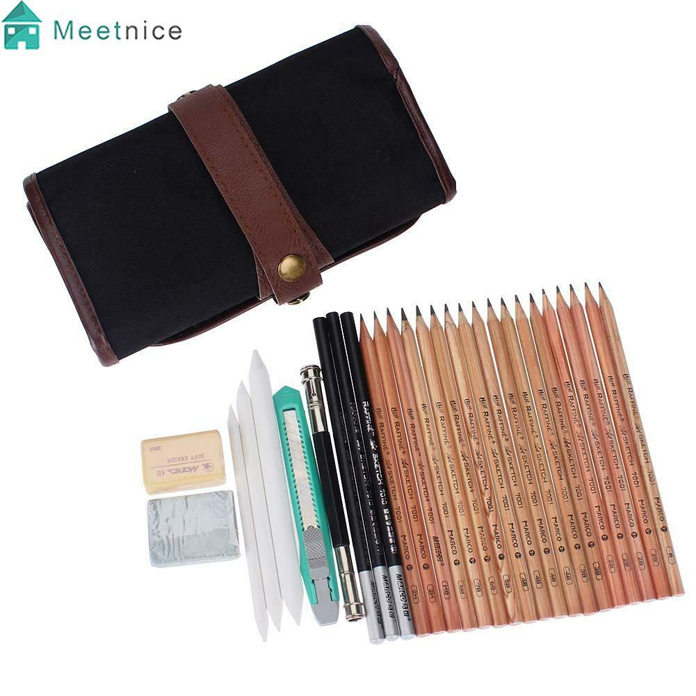 18 x Sketch Pencils + Charcoal Pencil Eraser Set Art Craft for Drawing Sketch