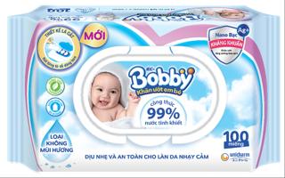 Khăn ướt Bobby NANO Bạc kháng khuẩn gói 100 tờ không hương