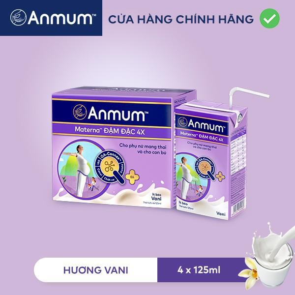 Combo 2 Lốc Sữa nước Anmum Materna Concentrate Đậm Đặc 4X Hương Vanilla 125ml x 4 hộp