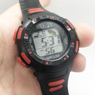 Đồng hồ điện tử thể thao trẻ em Beita dây vỏ cao su mặt tròn size 36mm đa chức năng, đèn led nhiều màu chống nước BT01