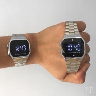 Đồng hồ nam, nữ a168-CU unisex dây sắt kiểu dáng sang trọng dành cho học sinh