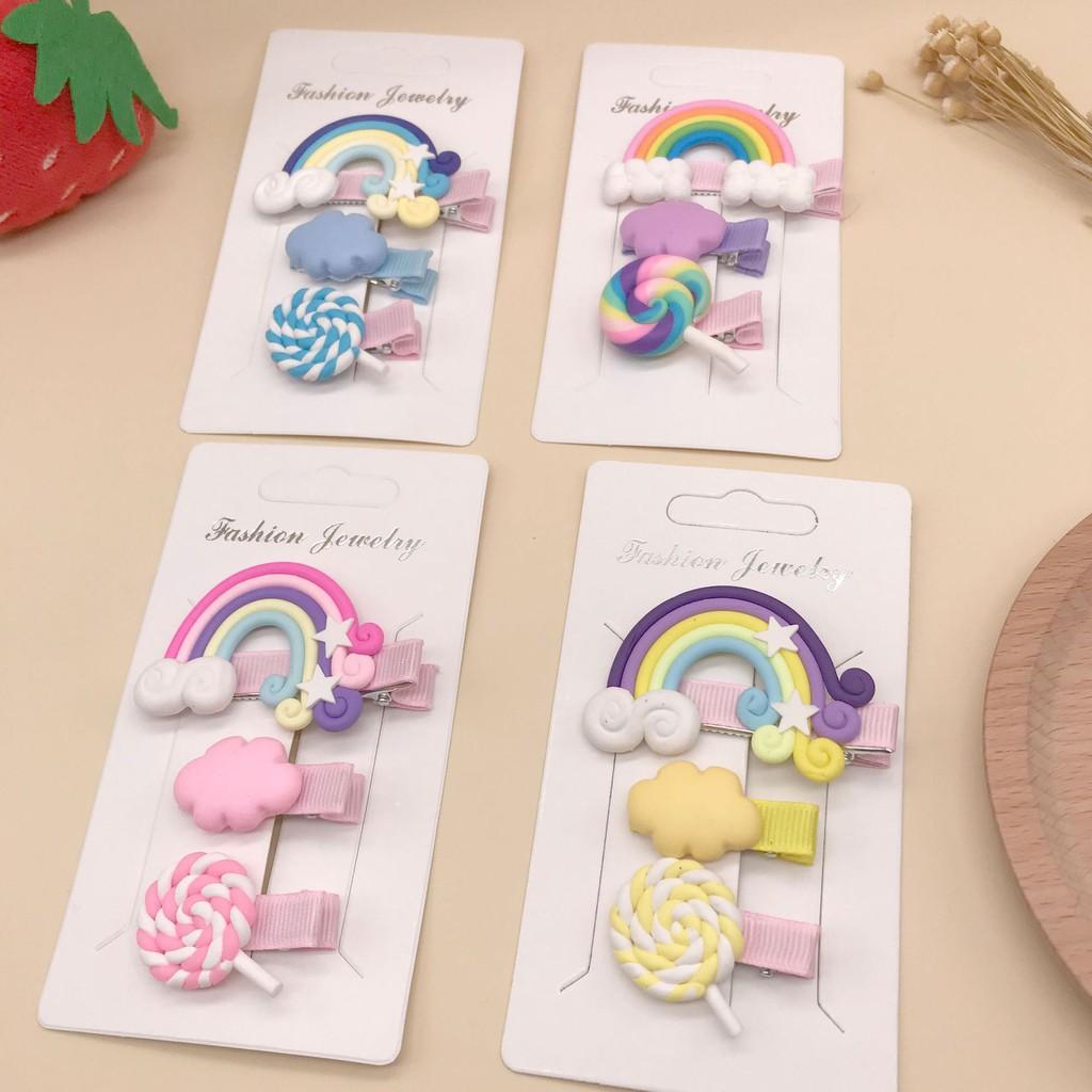 Bộ 3 kẹp tóc mỏ vịt màu kẹo trang trí cầu vồng thời trang Hàn Quốc đáng yêu cho nữ