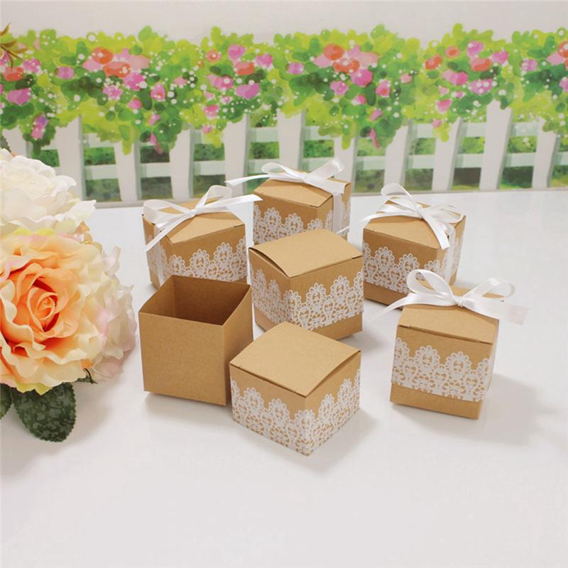 50 Pack White Lace Candy Box Wedding Decoration Paper Gift Box Party Decoration
