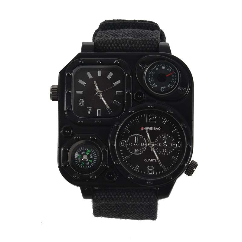 SHIWEIBAO Men Dual Time Zone Quartz Wrist Watch with Compass