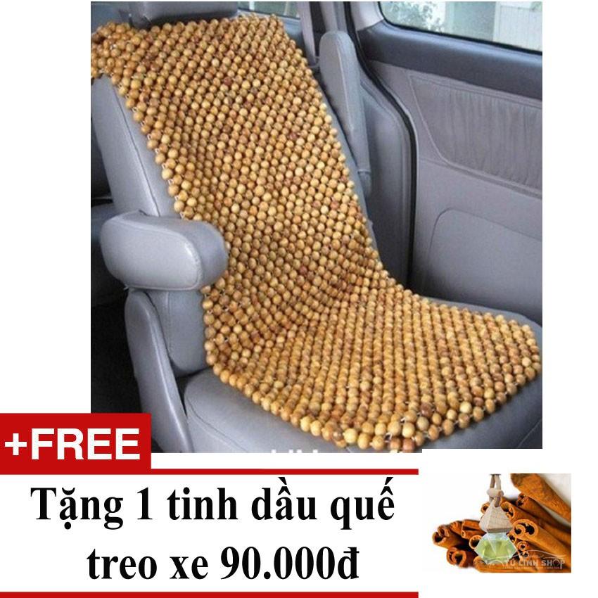 Lót ghế gỗ pơ mu, hạt to, để mộc + Tặng 01 tinh dầu quế treo xe