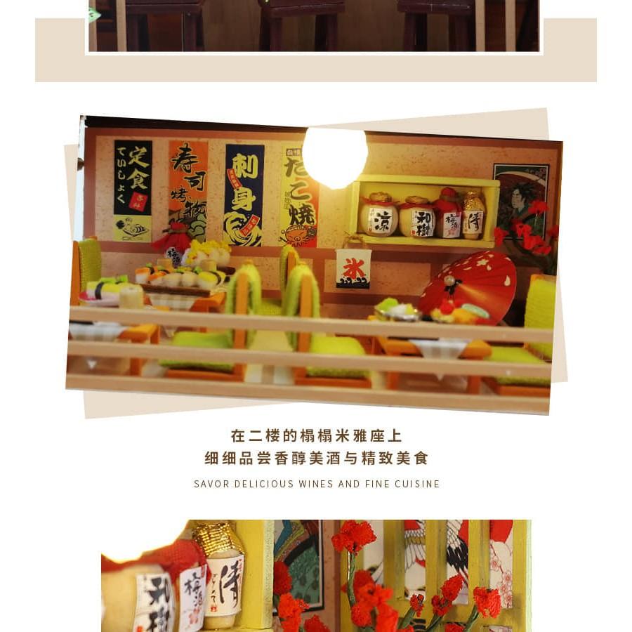 Mô hình gỗ nhà búp bê Tiệm Sushi (mica+keo)