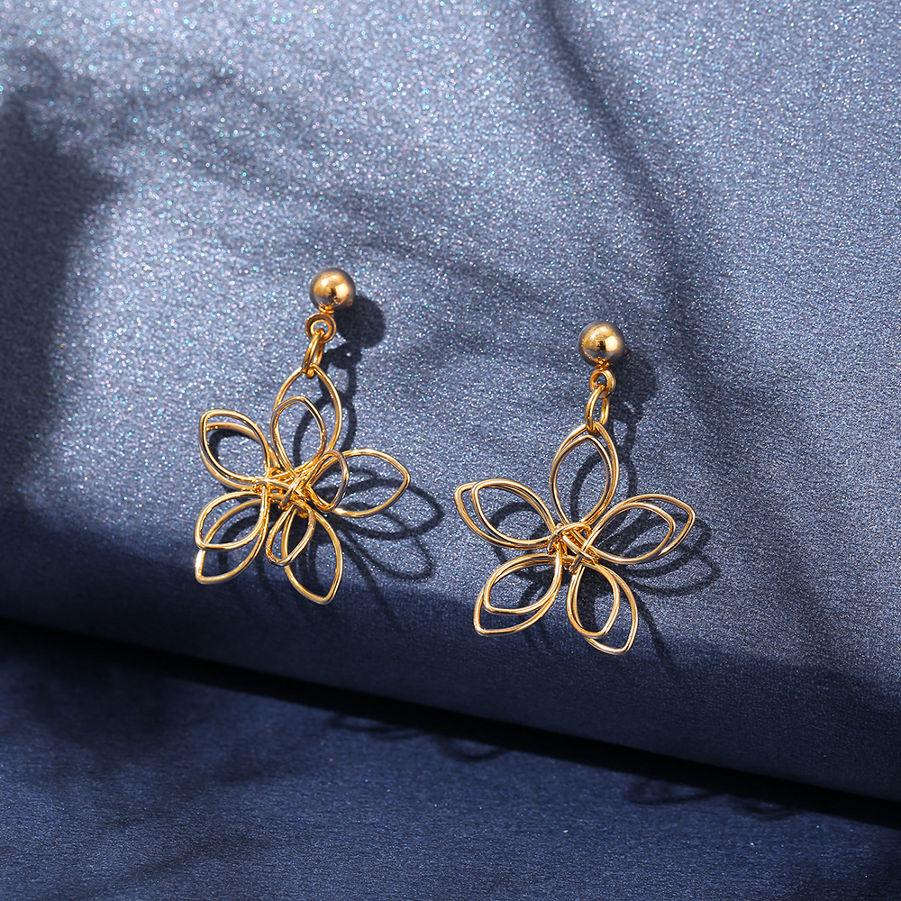 Elegant Temperament Drop Earring Korean Fashion Geometry Flower Gold Earring Women Jewelry Accessories
