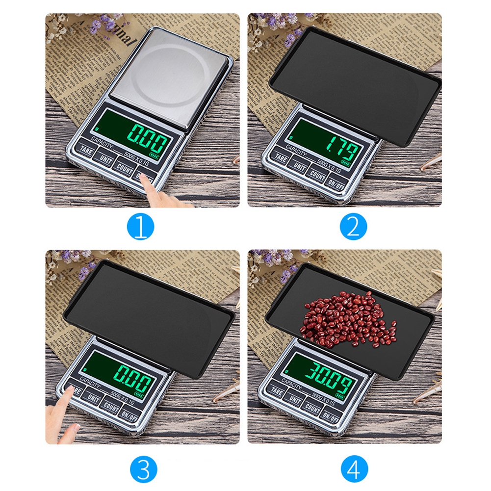 Jewelry Scale Pocket Electronic Mini Weighing Balance Portable USB Powered LCD Display