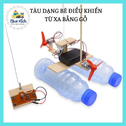 Đồ chơi khoa học STEAM tự làm tàu dạng bè chạy trên mặt nước điều khiển từ xa bằng gỗ, kích thích trí tuệ cho bé