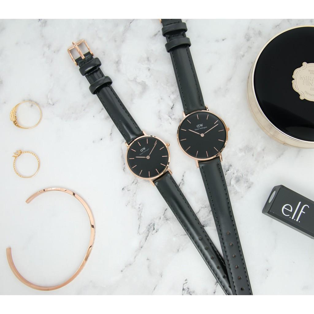 Combo đồng hồ nữ dây da Daniel Wellington Classic Petite Sheffield Black, Vòng tay Classic Cuff S