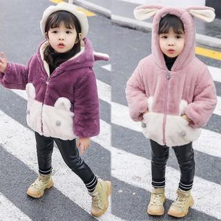 Áo khoác phối lông thú hoạt hình thời trang dễ thương cho bé gái