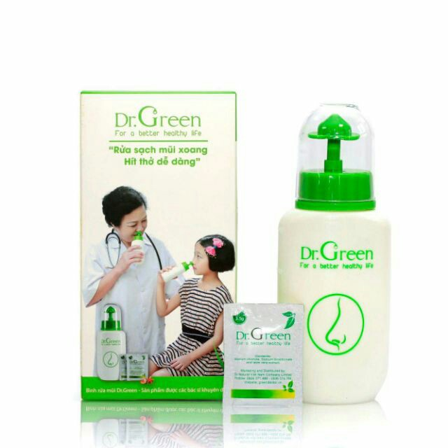 Bình Rửa Mũi Dr Green Tặng Kèm 10 Gói Muối