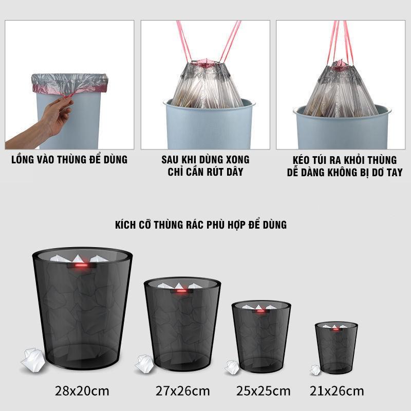 COMBO 5 Túi Đưng Rác Có Dây Rút Chịu Lực 20kg Chất Nilon Siêu Giãn