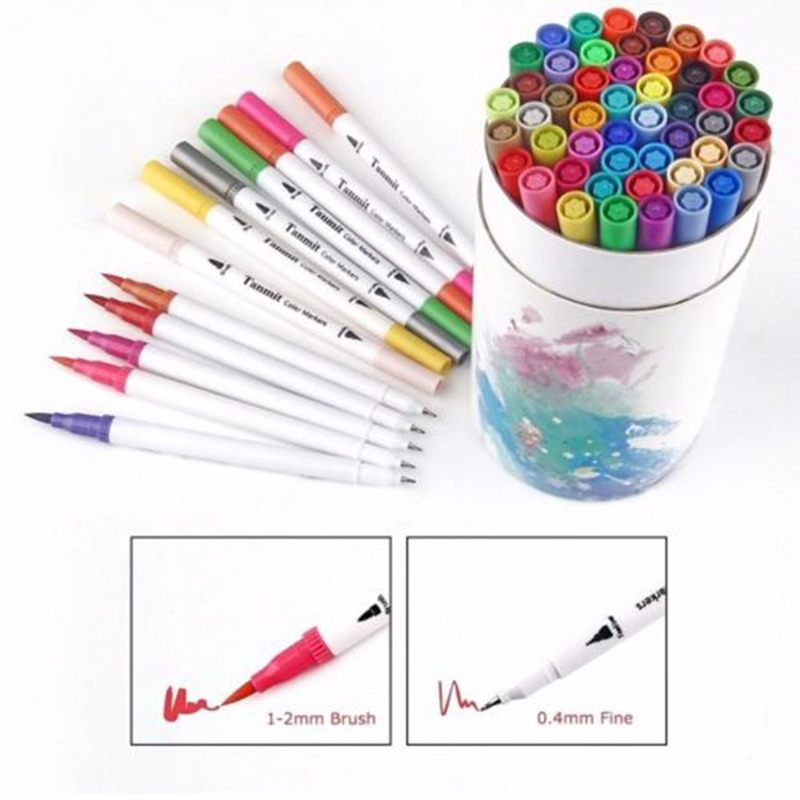 60 Colors Kids Toy Dual Tip Brush Markers Pens Set Art Paint Watercolor