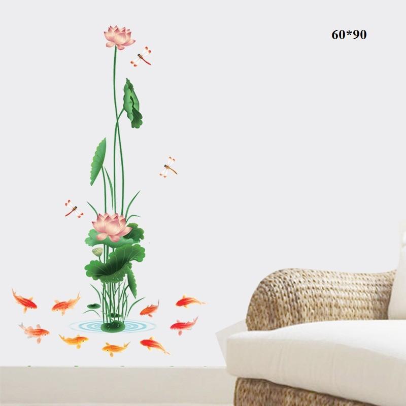 Decal dán tường hoa sen cá chép