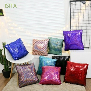 ISITA Pure Cushion Cover Home Car Sofa Decor Pillow Cover Mermaid Sequin Pillowcase 40*40cm Plain Knitted Creative Colorful Hidden Zipper Square Pillow Pillow Case/Multicolor