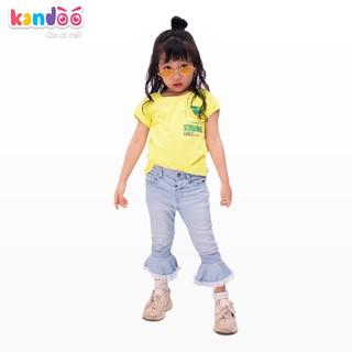 Áo T-shirt bé gái KANDOO màu vàng hoàng yến, in hình đáng yêu, chất liệu cotton cao cấp mềm mịn, thoáng mát - DGTS1736