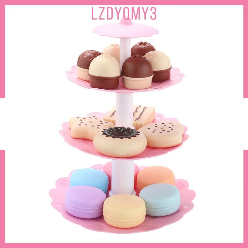 hausgarden Kids Food Pretend Play Toy Set – Sweet Treats 3-Tier Cookies Dessert Tower