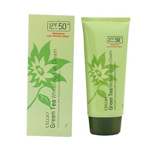 Kem chống nắng Cellio Green Tea Whitenning Sun Cream SPF50+
