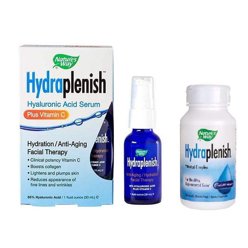 Combo cấp nước căng da Hydraplenish Nature's Way Biocell Collagen HA Hyaluronic Acid (Date 2021)