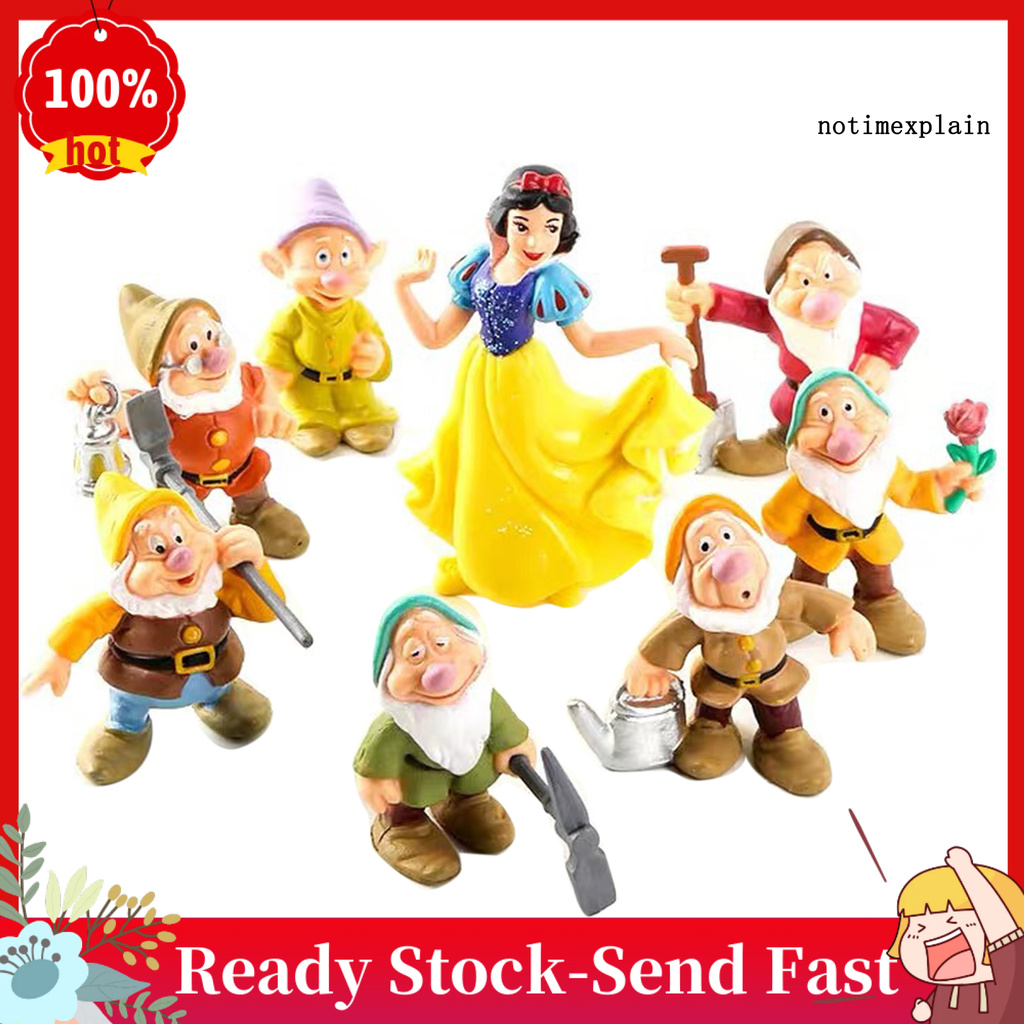 【TMX】 8Pcs/Set Snow White Seven Dwarfs Figures Model Toys Ornaments Home Decoration