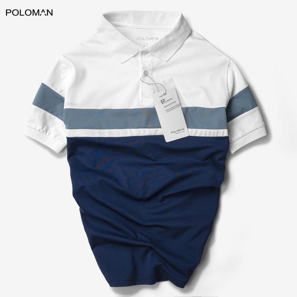Áo Polo nam phối cổ bẻ Ampus vải cá sấu Cotton xuất xịn,chuẩn form trẻ trung, thanh lịch P06 - POLOMAN