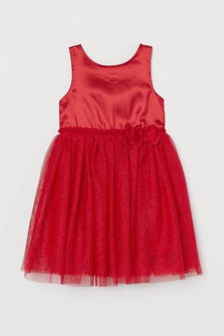 Váy HM Đỏ phối voan đính nơ eo