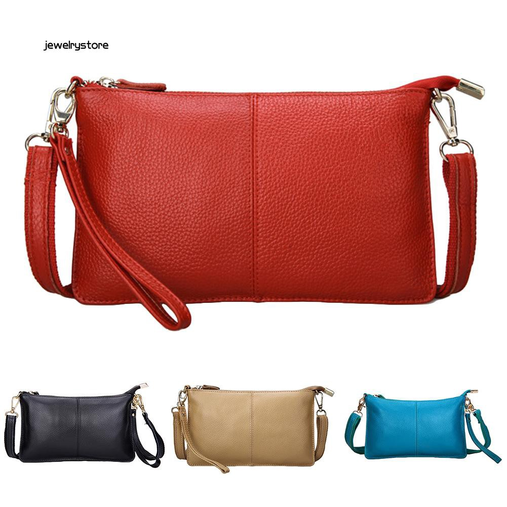 【JEW】Fashion Women Rectangle Solid Color Zip Wristlet Handbag Crossbody Shoulder Bag