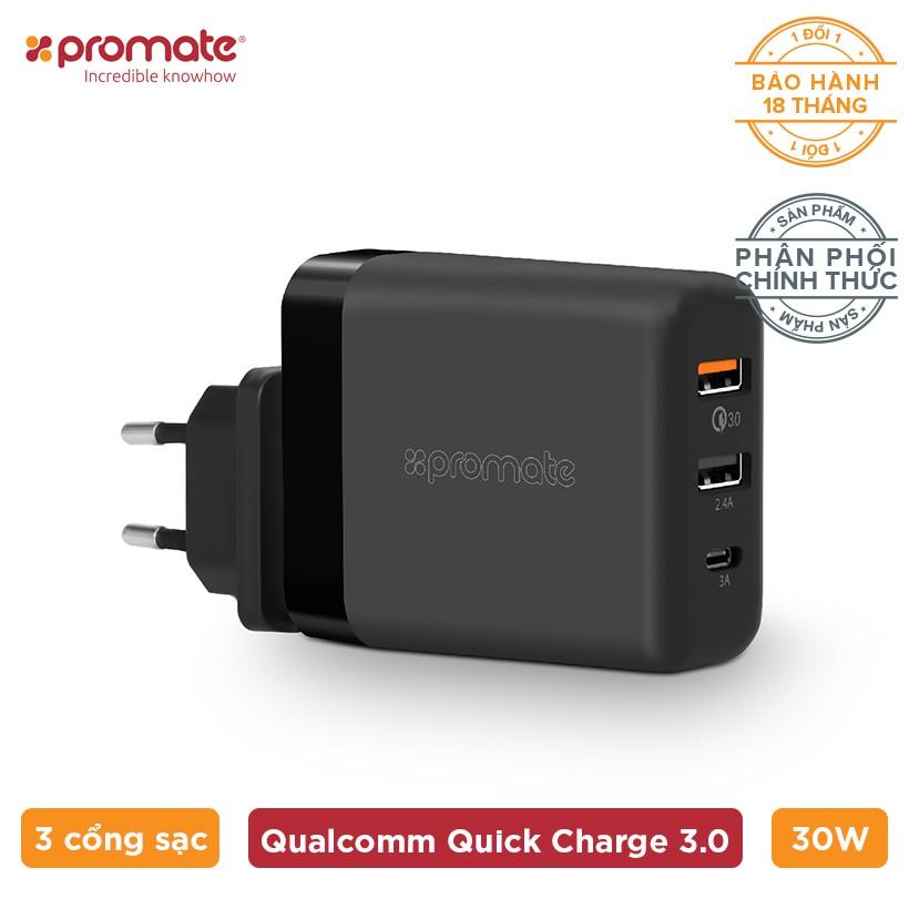 Sạc USB Type-C Promate PowerHub-QC 30W (Đen-US) - Hàng Chính Hãng - 3576937 , 1304202009 , 322_1304202009 , 549000 , Sac-USB-Type-C-Promate-PowerHub-QC-30W-Den-US-Hang-Chinh-Hang-322_1304202009 , shopee.vn , Sạc USB Type-C Promate PowerHub-QC 30W (Đen-US) - Hàng Chính Hãng
