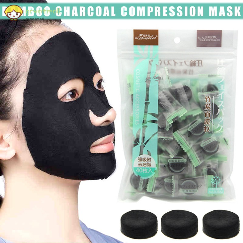 40pcs/pack Compressed Masks Bamboo Charcoal Non-woven Facial Mask for Skin Care