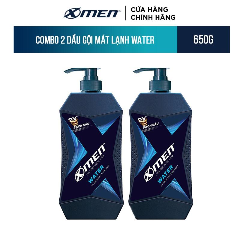 Combo 2 Dầu Gội X-Men Mát Lạnh Water 650g/chai