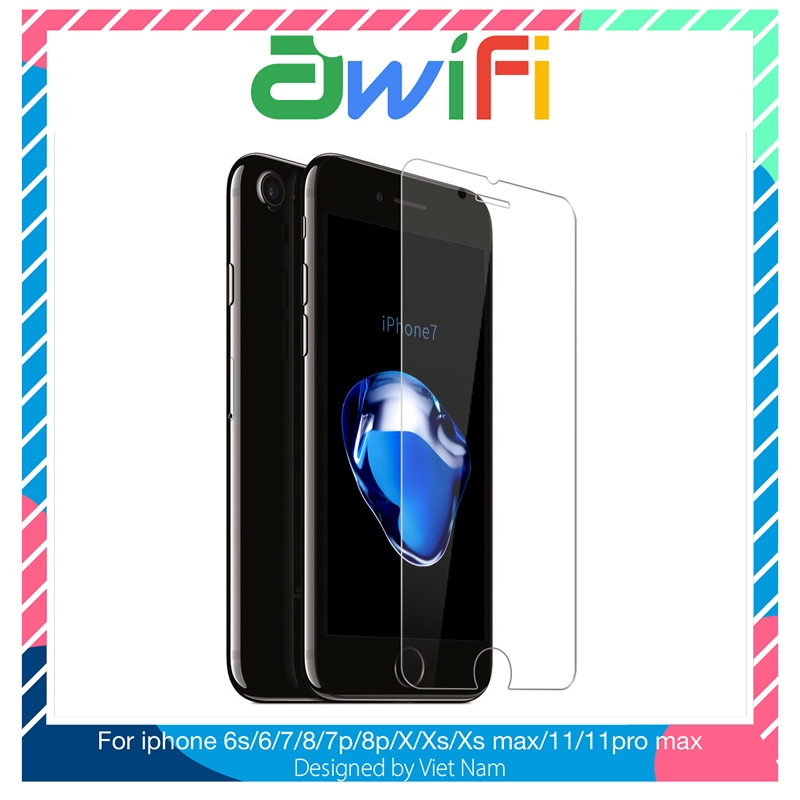 Kính cường lực iphone 2.5D trong suốt 5/5s/6/6s/6plus/6s plus/7/8/7plus/8plus/x/xs/xsmax/11/11promax - Awifi Case C3-6
