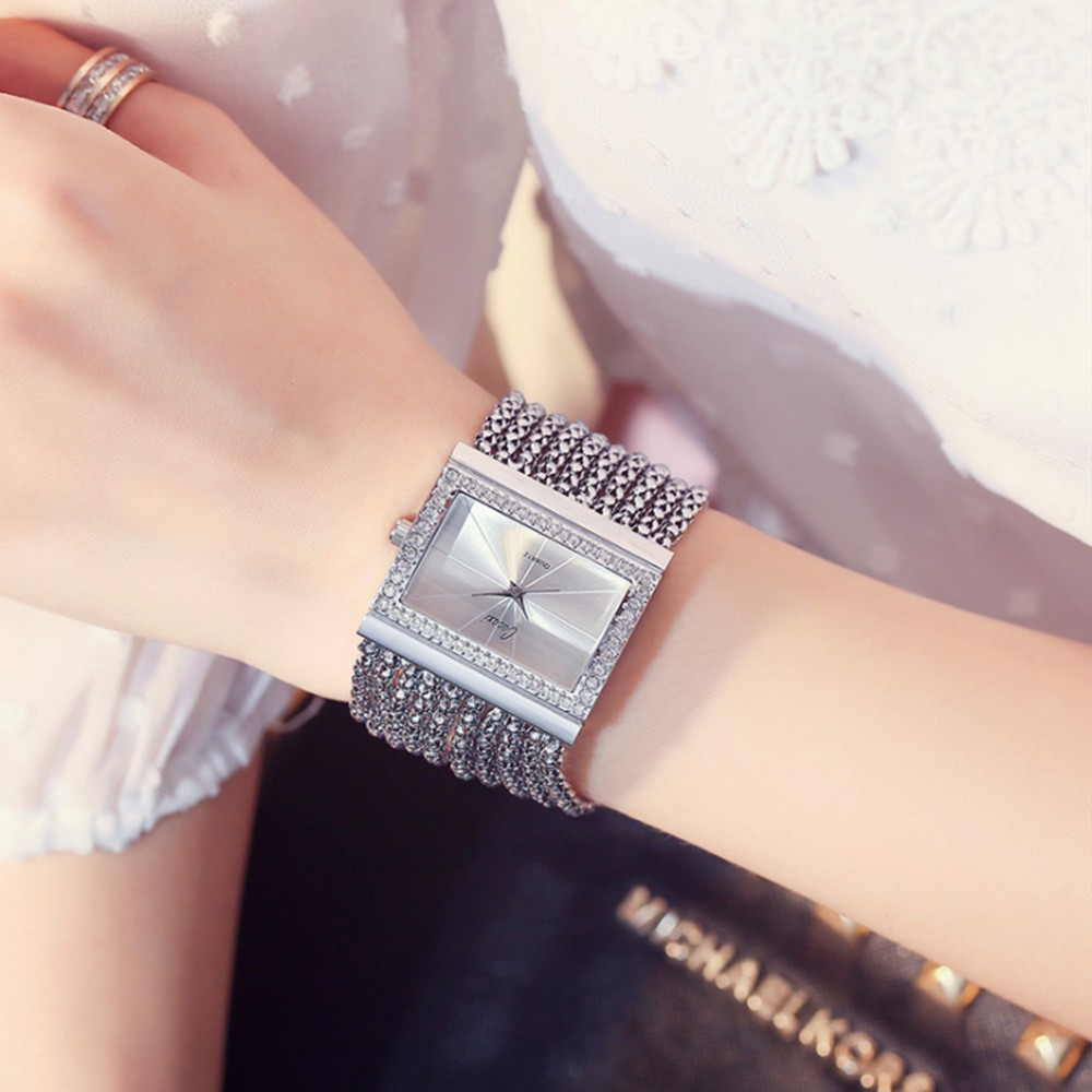 Women Fashion Square Dial Diamond Quartz Watch Exquisite Luxury Alloy Case Band Analog Wrist Watch