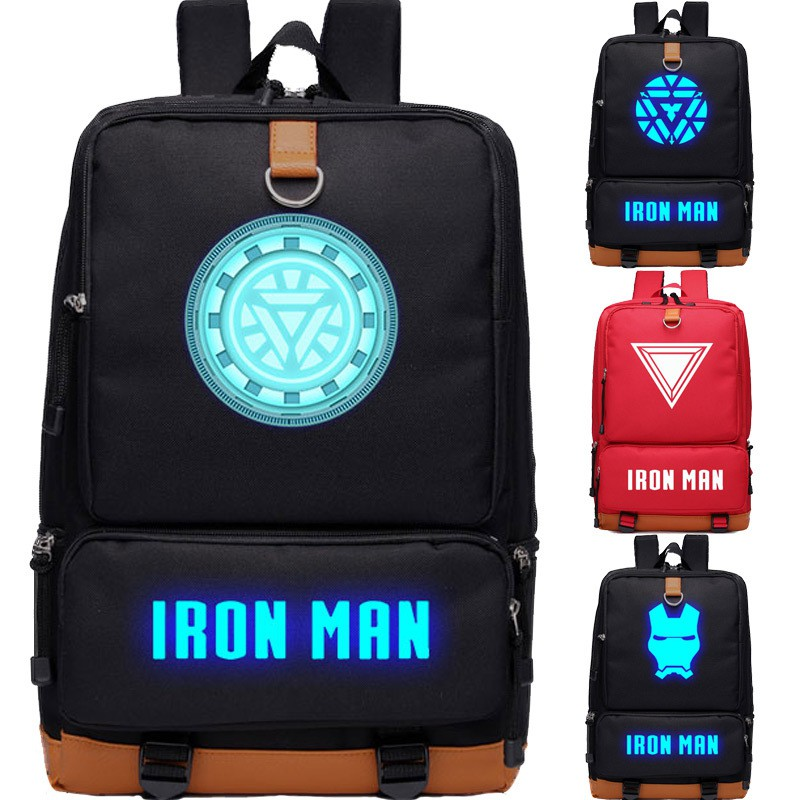 Luminous Union 4 Iron Man Backpack Boy Primary School Schoolbag Reactor Adult Backpack Thicken Computer Bag