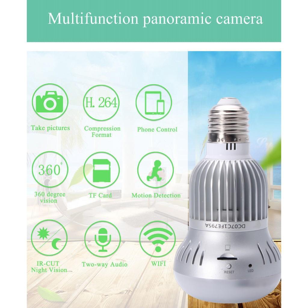 Bóng đèn camera xoay 360 độ kết nối wifi HD 1080P