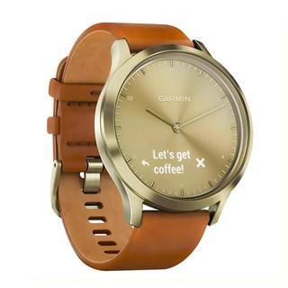 Đồng hồ lai Garmin Vivomove HR Premium dây da thân kim loại sang trọng