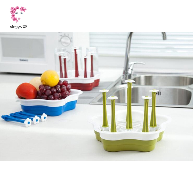 Simple Drink Glass Bottle Cup Holder Drain Rack for Kitchen Storage
