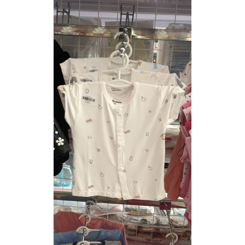 Combo 10 áo cộc tay sơ sinh cho bé, khuy giữa vải thun lạnh (sỉ)