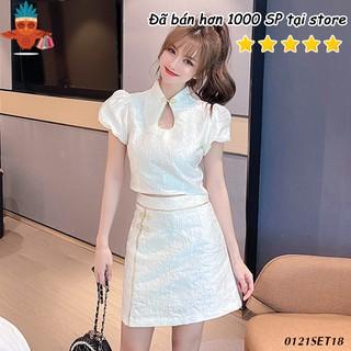 Set áo gấm trung hoa tay phồng ngắn phối chân váy trắng viền vàng THOCA HOUSE freesize thời trang phù hợp đi lễ, Tết thumbnail
