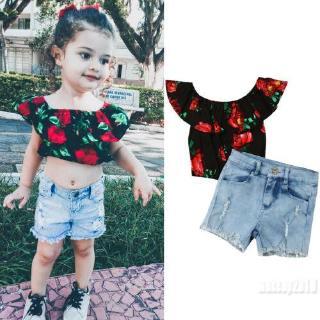 Mu♫-Summer Toddler Baby Girl Clothes Flower Off Shoulder Denim Set 2Pcs